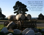 Wagon and Barrels with Quote