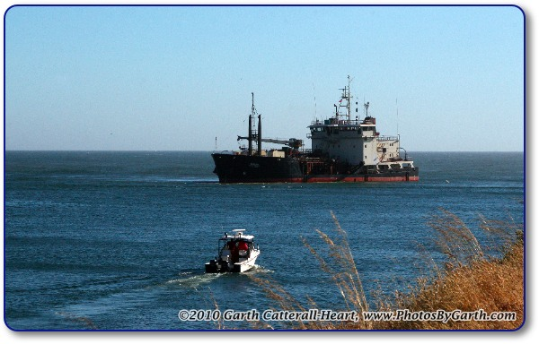 Cargo Ship near mouth of North Jetty in Gold Beach, OR