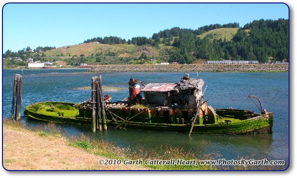 Old rotting, mossy fishing boat
