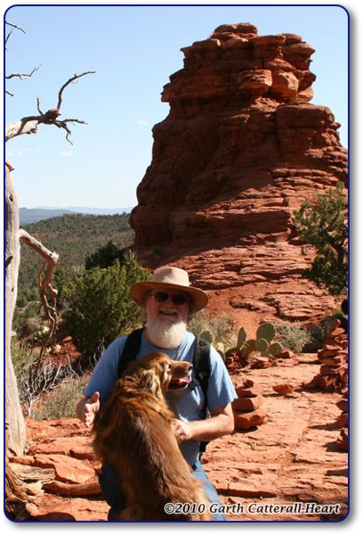 The photographer and his dog at the Boynton Canyon vortex